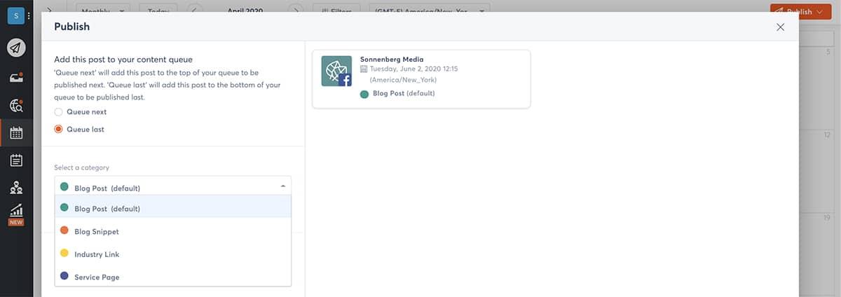 social media dashboards - publishing queues