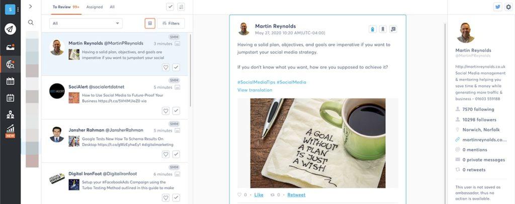 social media dashboard - social listening