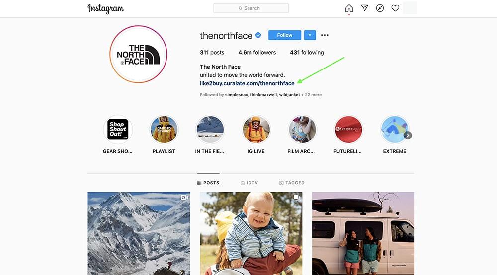 social media landing page - Northface 1