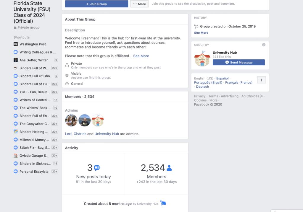 social media for universities in facebook groups