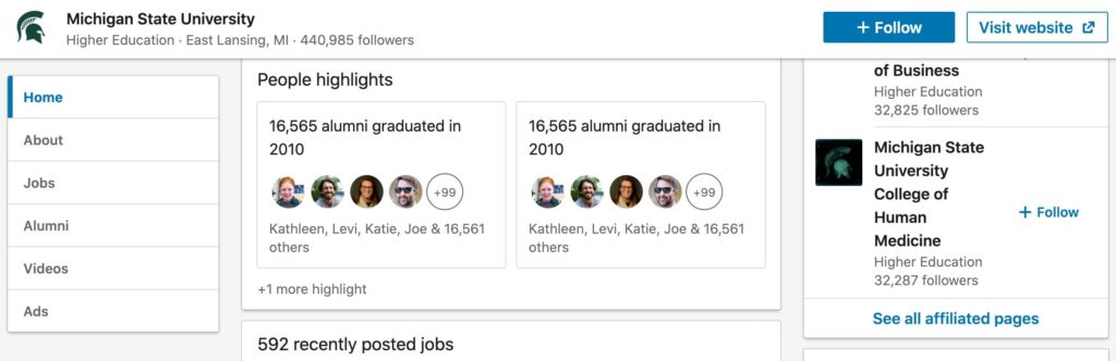 linkedin business page for universities to engage