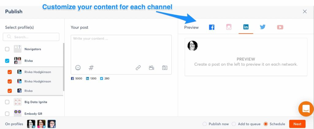 universities can customize content for each channel