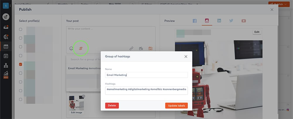 how to create hashtag groups with a social media dashboard