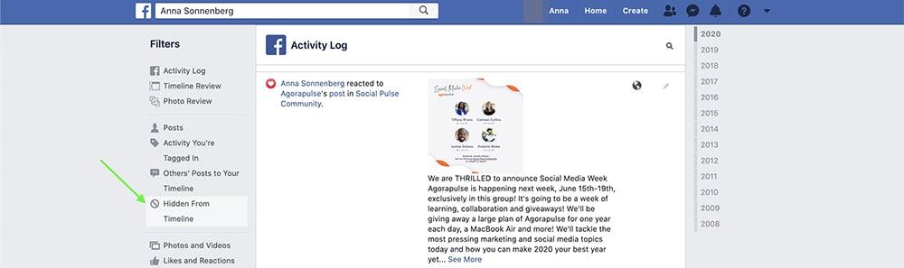 how to unhide a Facebook post on desktop - step 3