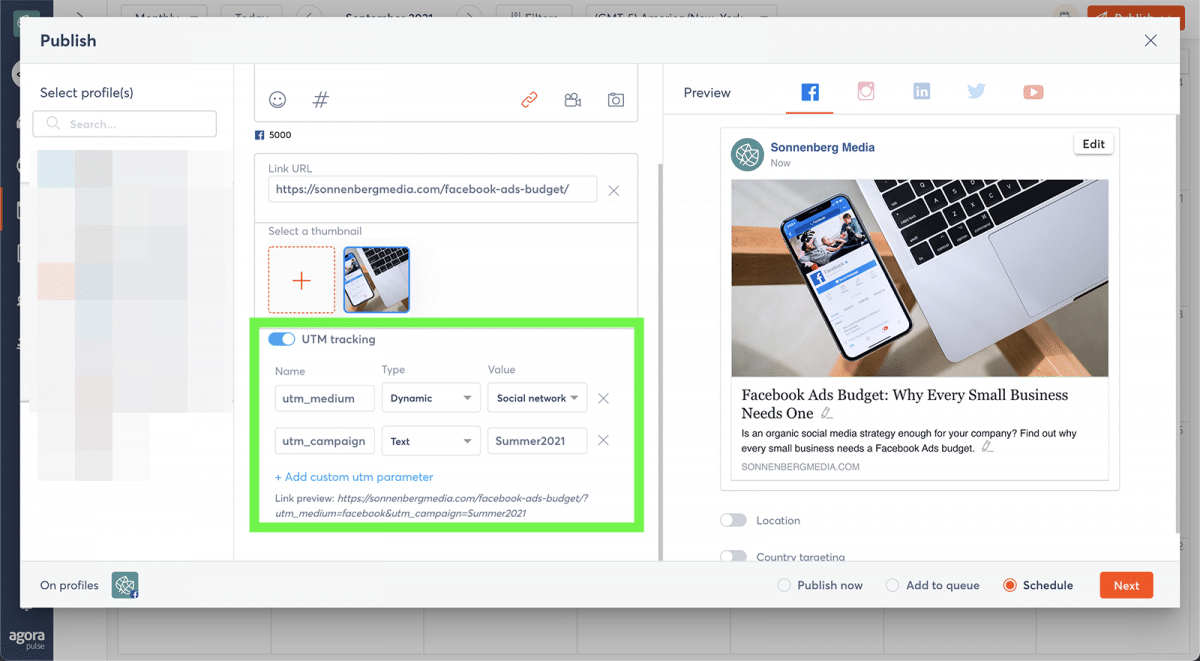 agorapulse how to use facebook business manager UTM parameters