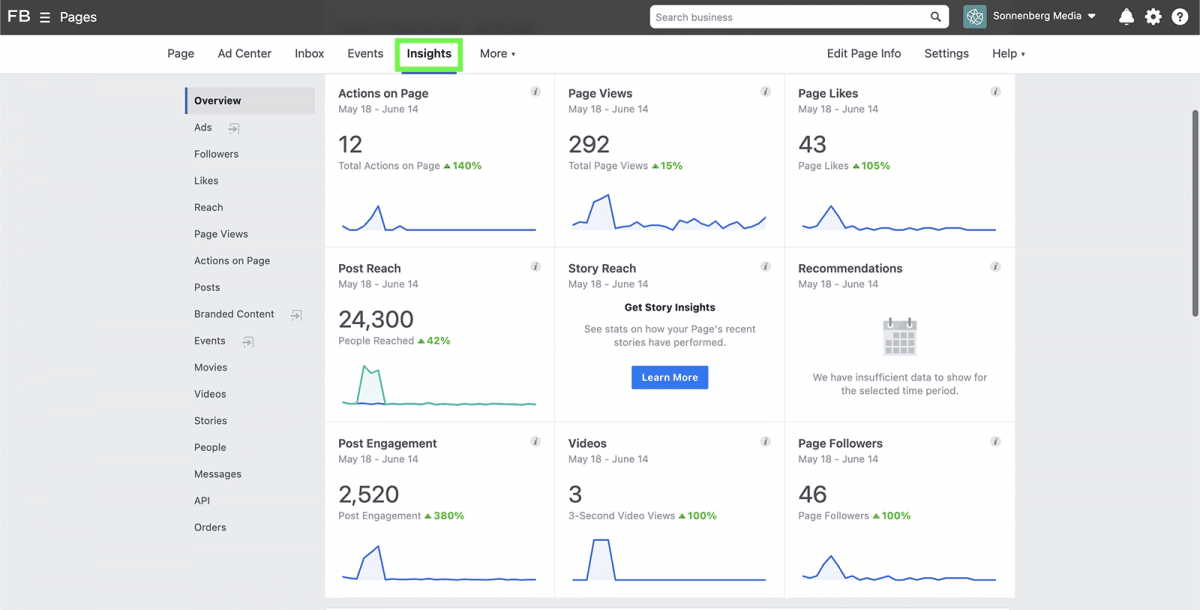 agorapulse how to use facebook business manager insights