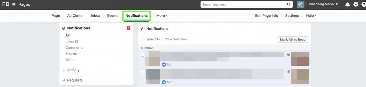 agorapulse how to use facebook business manager notifications