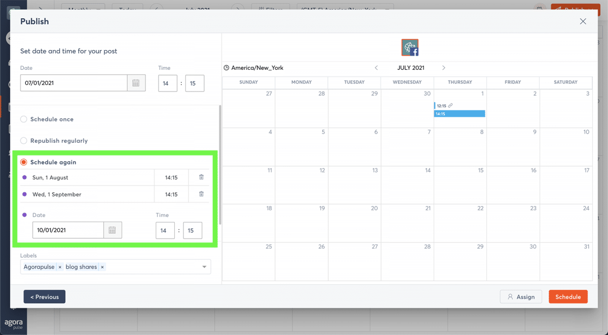 agorapulse how to use facebook business manager reschedule date
