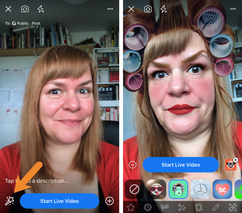 For fun broadcasts using Facebook Live add filters when you go live on facebook