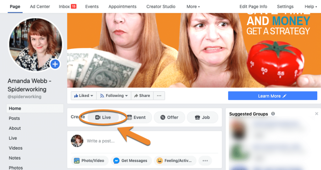 Starting a Facebook Live from your Facebook page