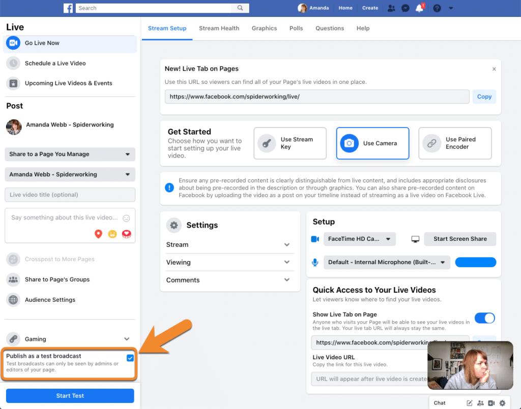 Test Facebook Live broadcast