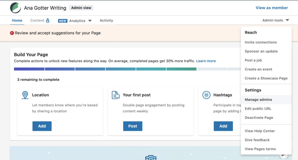 build your page and have some personal settings