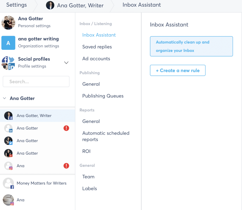 agorapulse for managing your personal social login information and channels