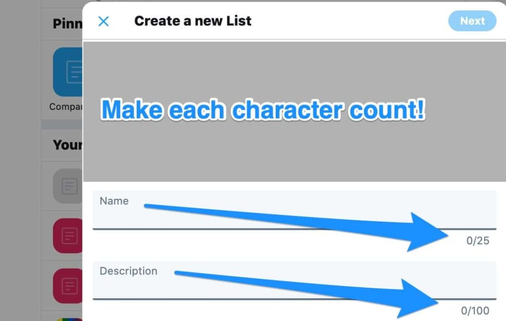how to use name and description in your Twitter list