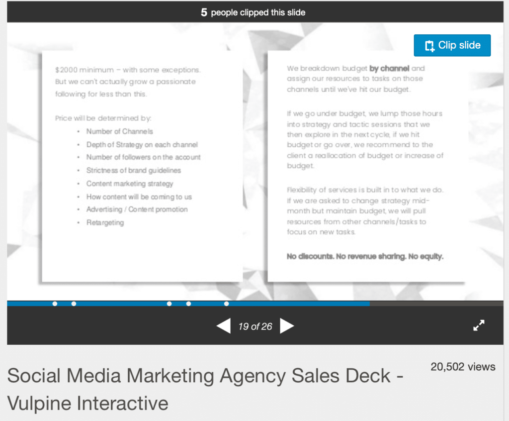 example of transparent pricing in a social media agency
