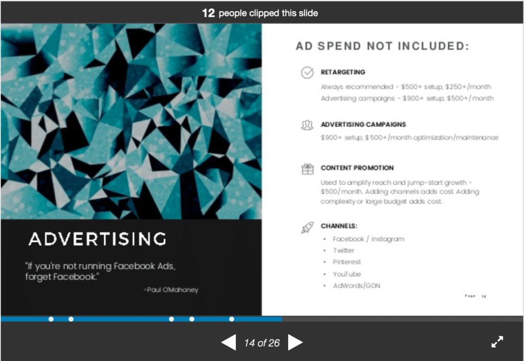 example of ad spend in a social media agency deck