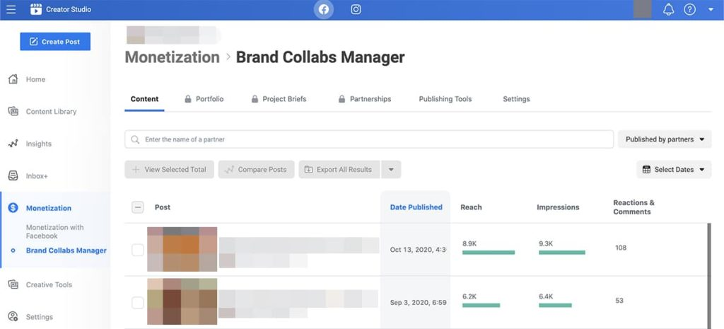 Facebook tools - Brand Collabs Manager