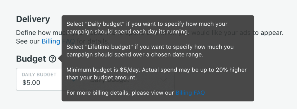 example of budgets for reddit ads