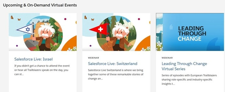example of upcoming virtual events