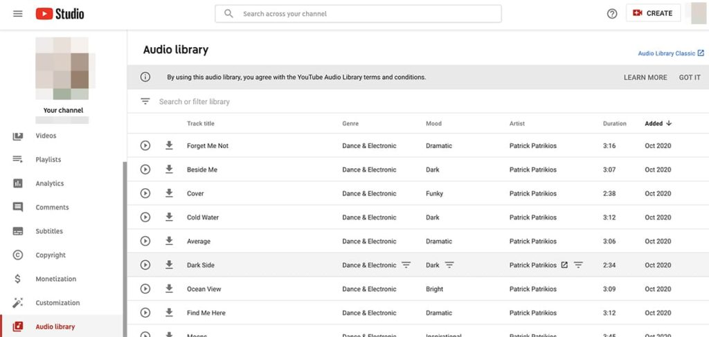 YouTube tools - audio library