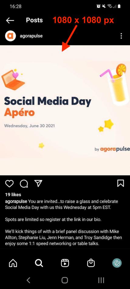 social media image sizes agorapulse instagram post