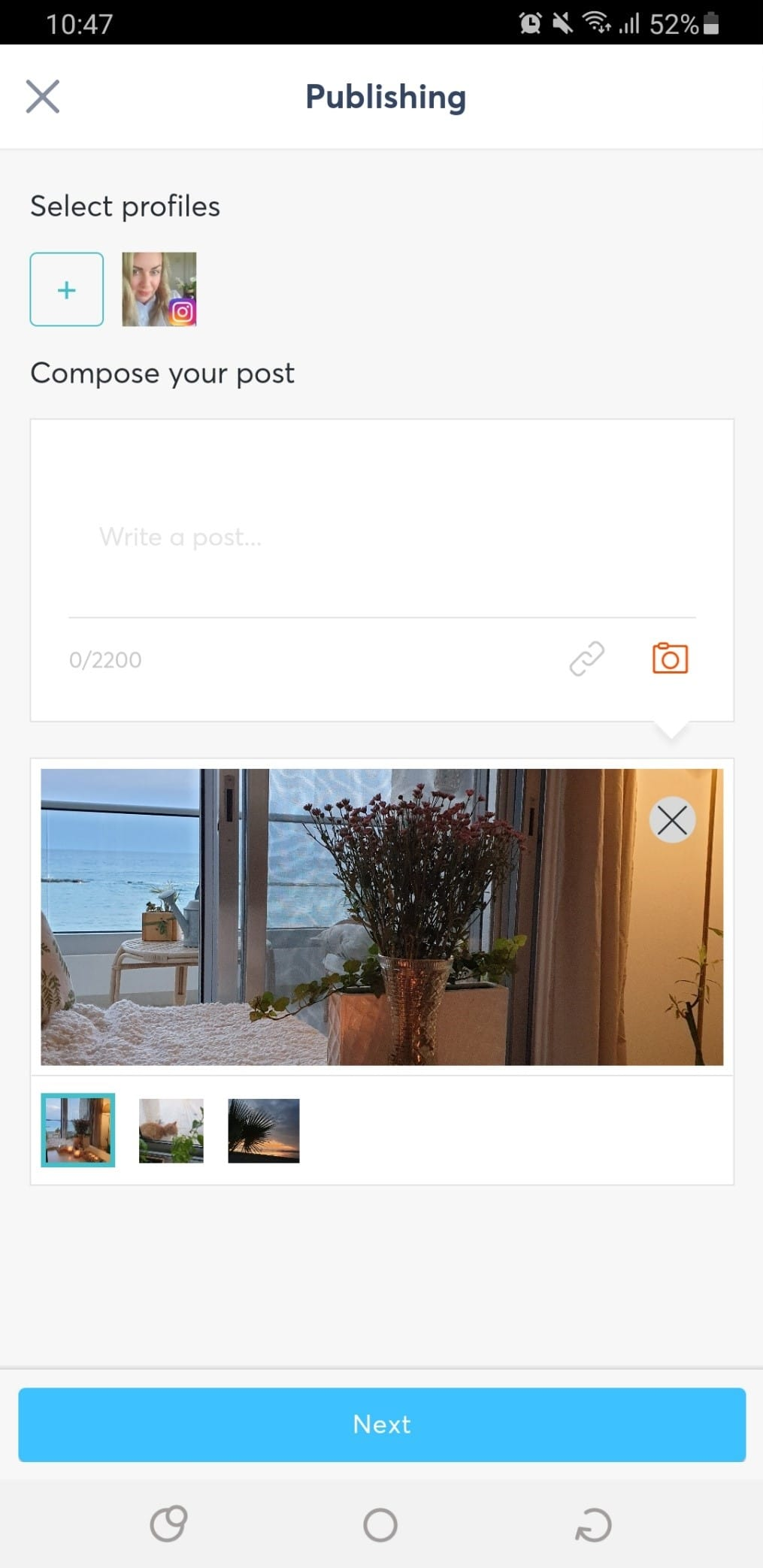 Scheduling Instagram posts via your mobile device.
