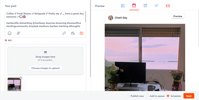 posting on Instagram with Agorapulse social media management solution