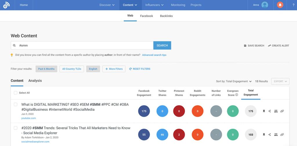 social media analytics tools - BuzzSumo