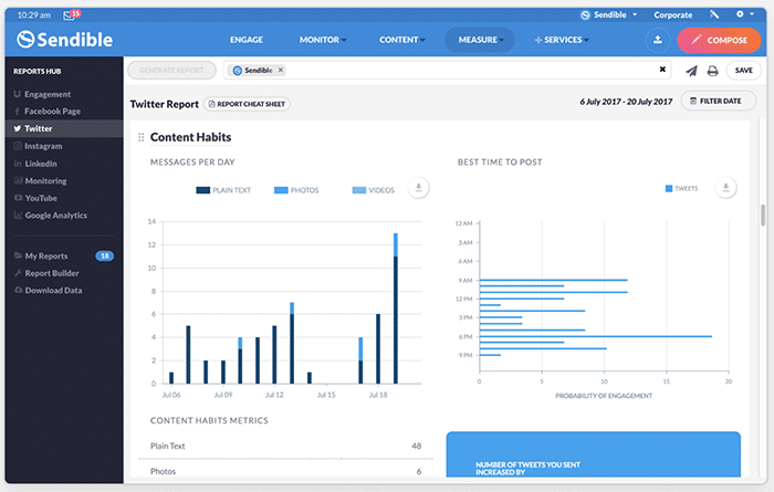 social media analytics tools - Sendible