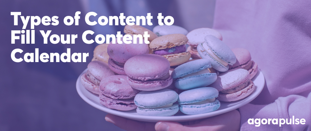 header image for types of content for your social media calendar