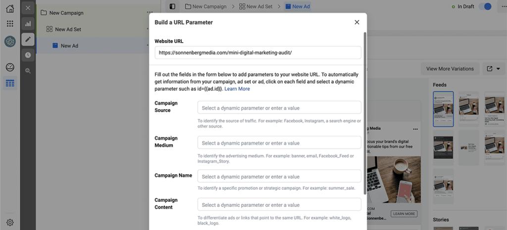Facebook Ads UTM parameters