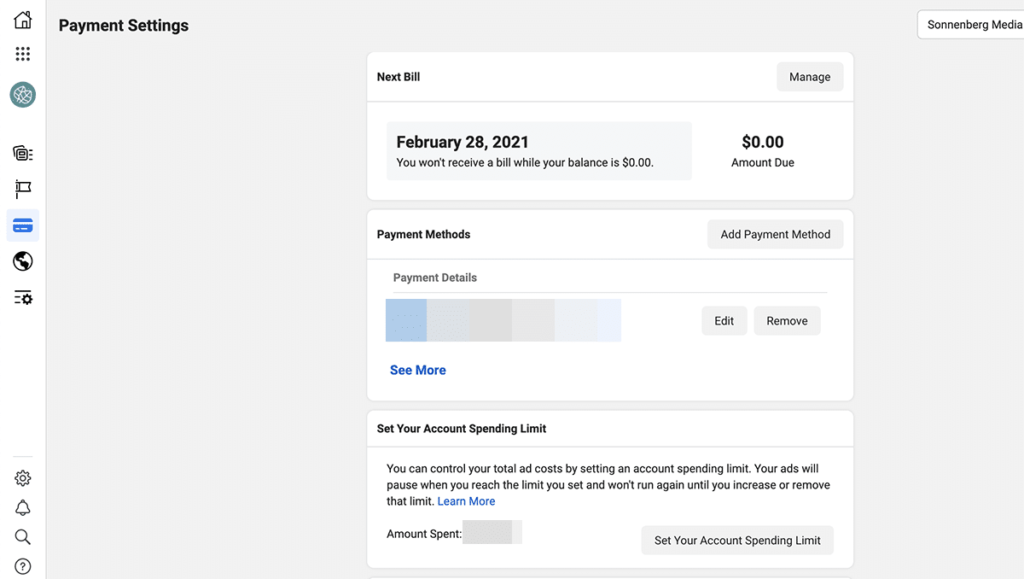 Facebook ad account payment settings