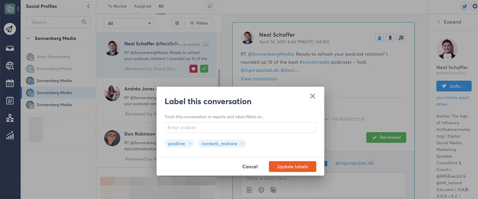 Agorapulse - customer relationship management labels