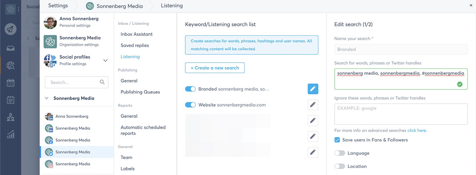 Agorapulse - how to create a social listening search