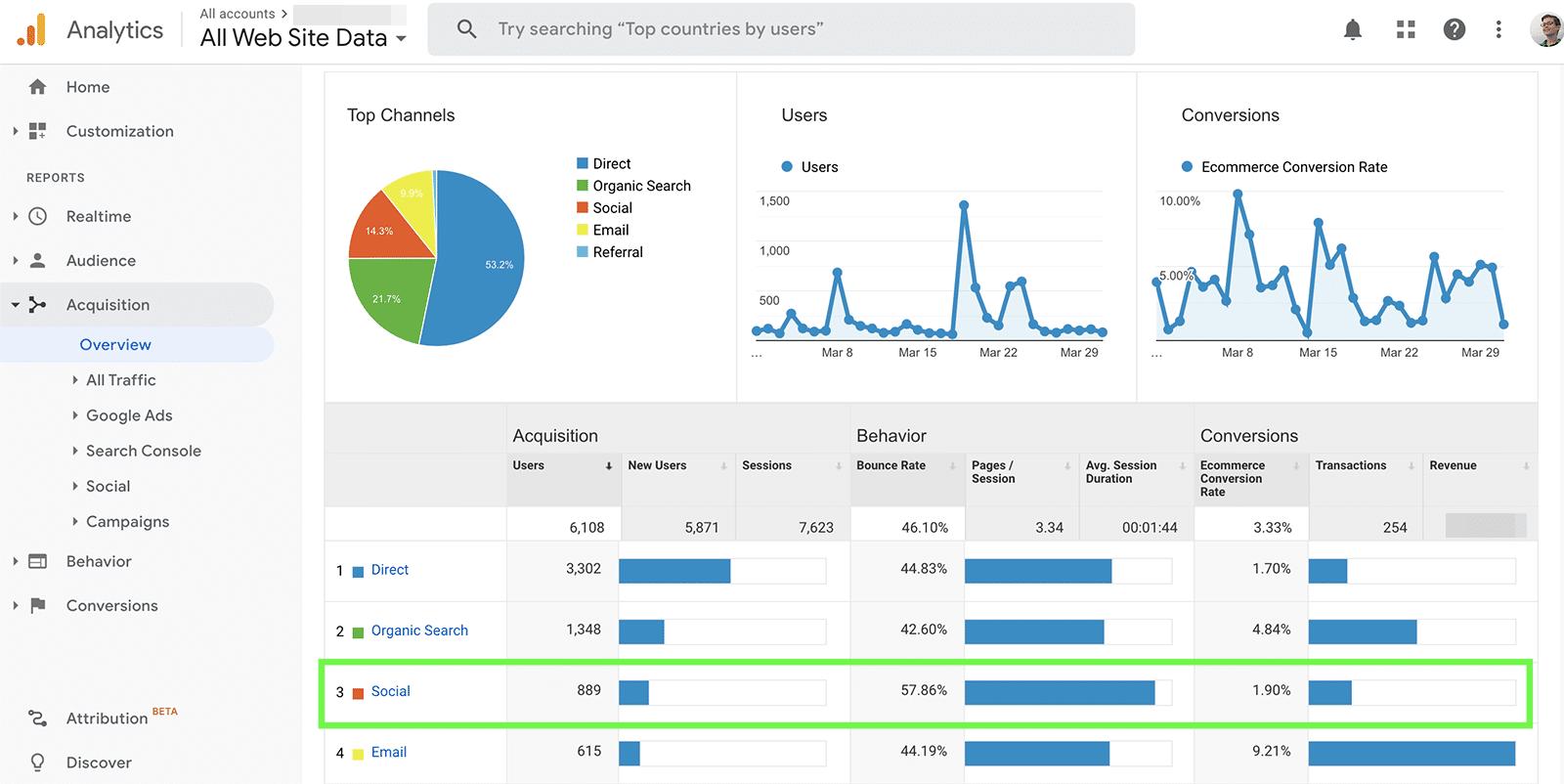 Google Analytics - social referrals