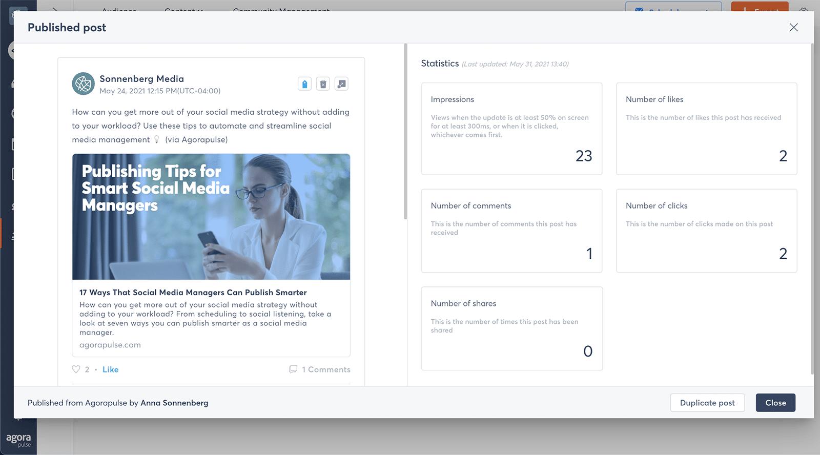 LinkedIn metrics - post