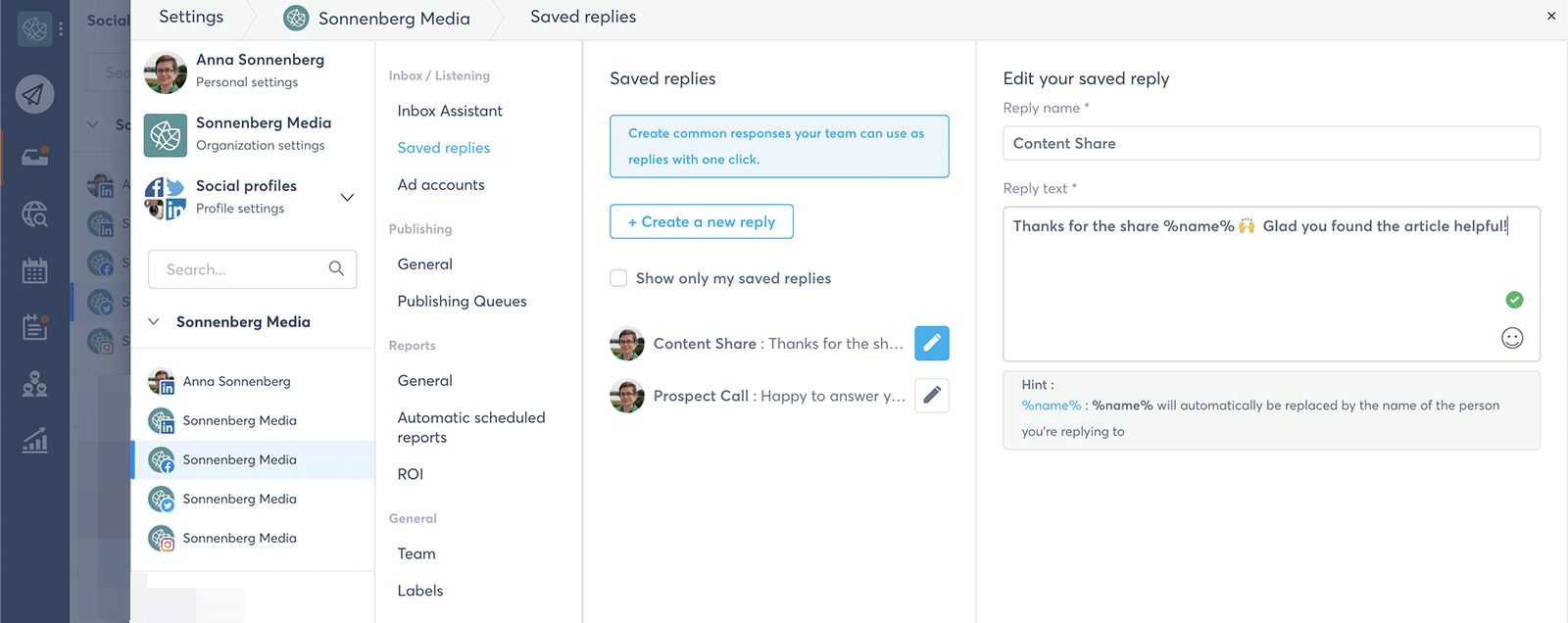 create saved replies to manage multiple social media accounts