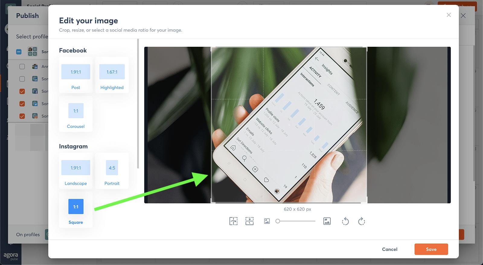 edit social media images with Agorapulse