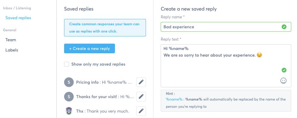 Agorapulse Inbox Assistant - saved replies