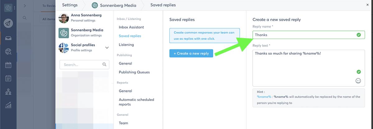 Social media campaign Agorapulse saved replies