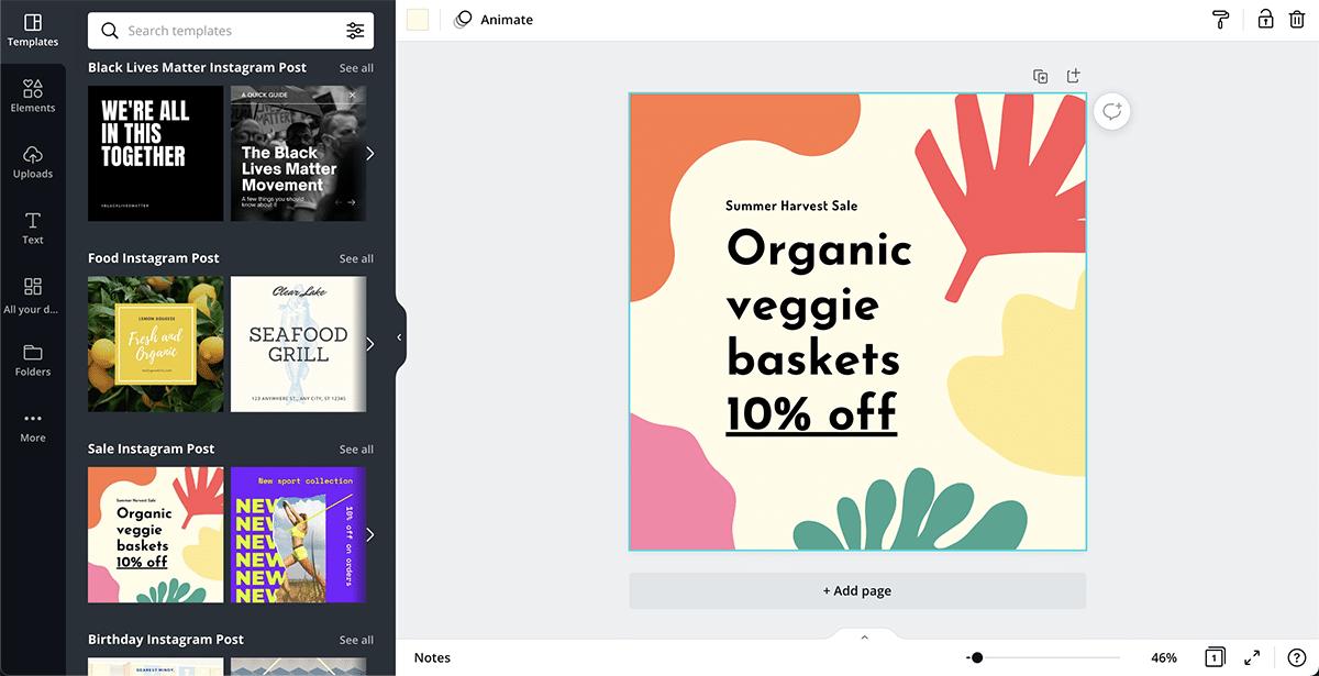 Social media campaign Canva dashboard