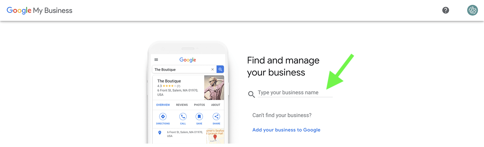 how to set up Google My Business - step 1