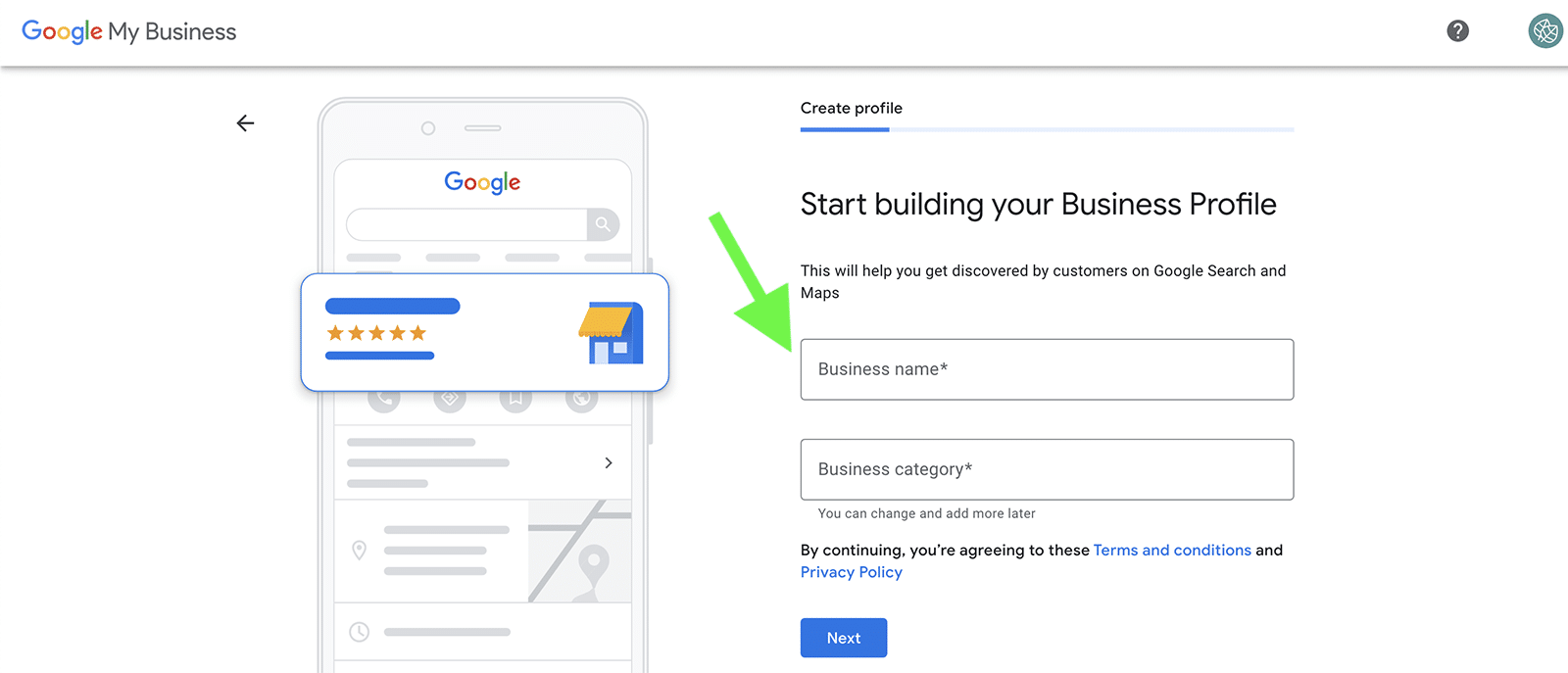 how to set up Google My Business - step 2