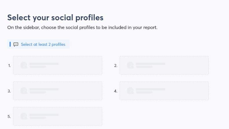select your social profiles for your social media reports