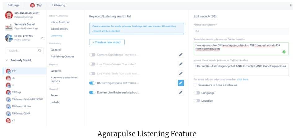 agorapulse's listening feature