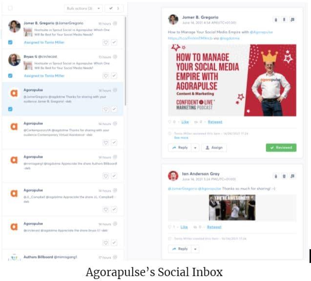 agorapulse's social inbox screenshot