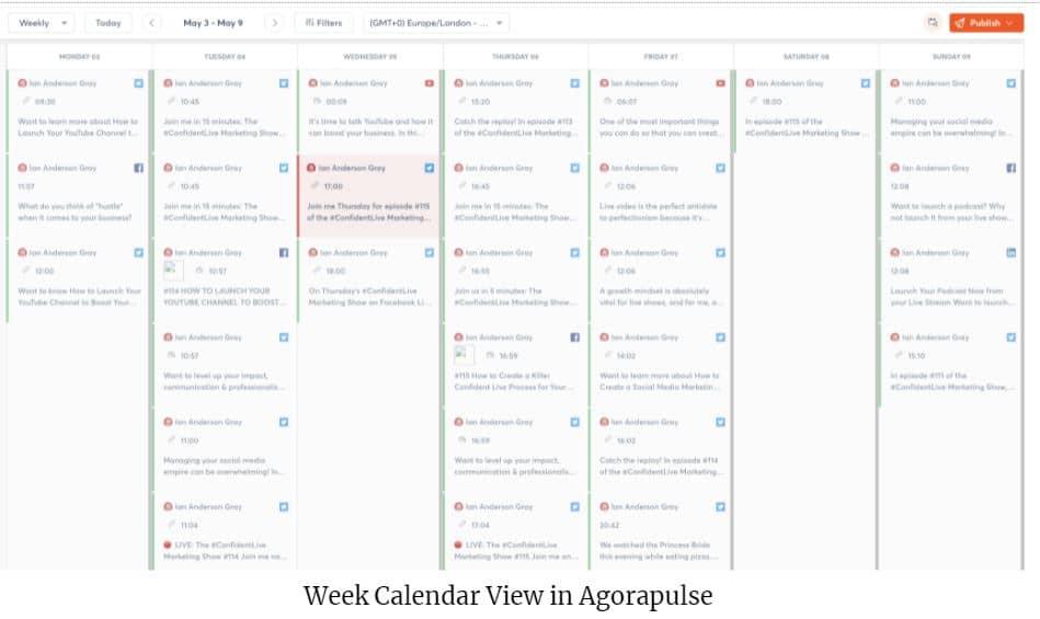 weekly calendar view in agorapulse