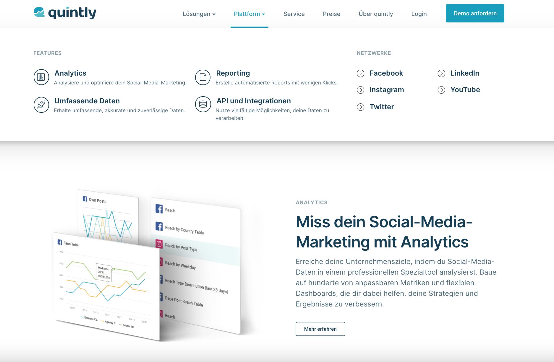 Social-Media-Tool Quintly zur Datenanalyse