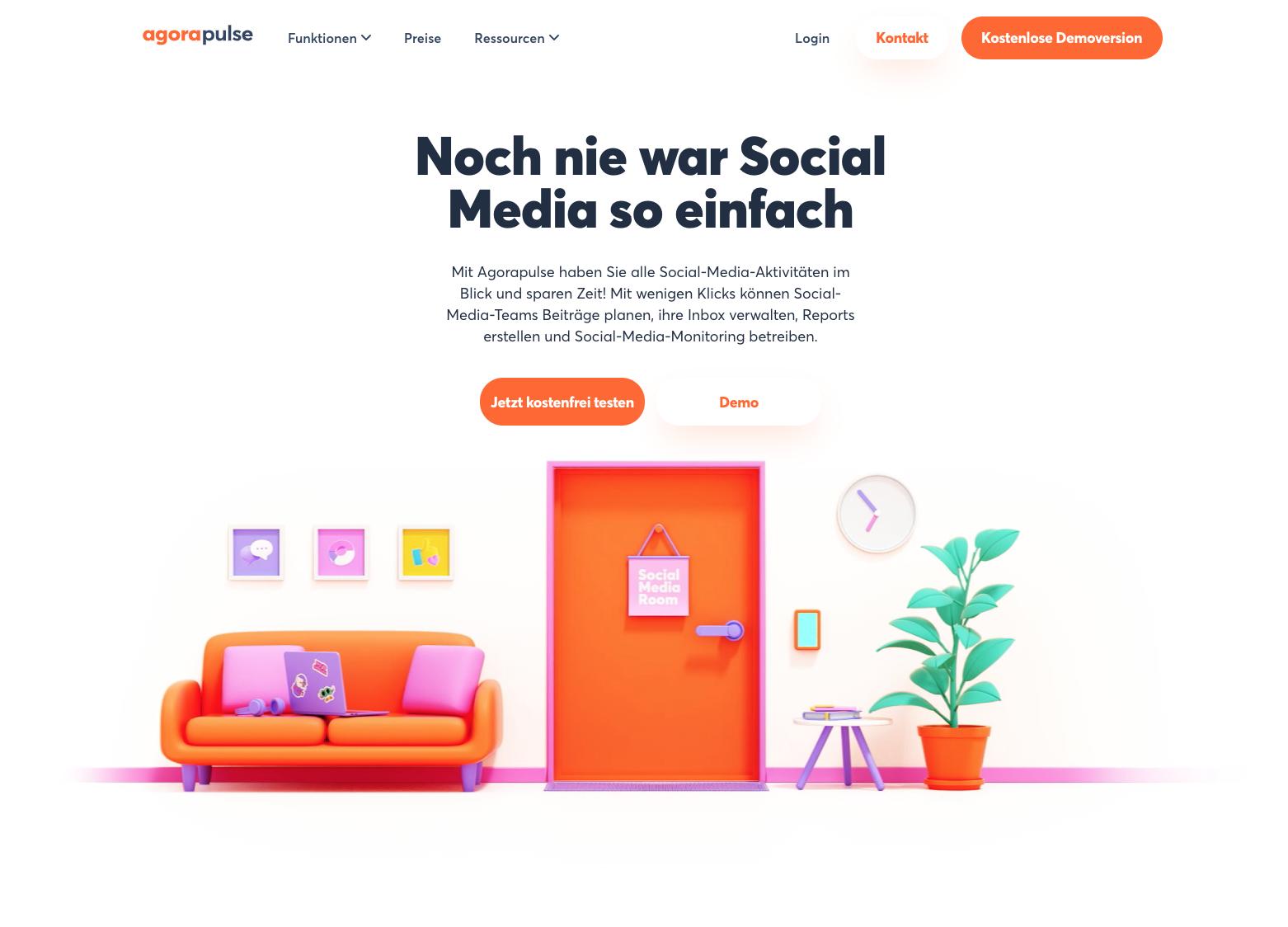 Homepage Social-Media-Tool Agorapulse