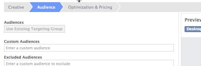 Facebook Power Editor Audience Tab